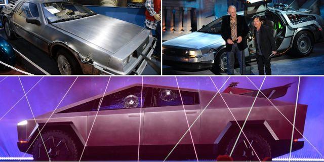 """Arkivbilder: Christopher Lloyd som spelade Dr Emmett Brown och Michael J Fox som spelade Marty McFly i filmen """"Tillbaka till framtiden"""" från 1985 / Teslas nya Cybertruck som presenterades på fredagsmorgonen."""