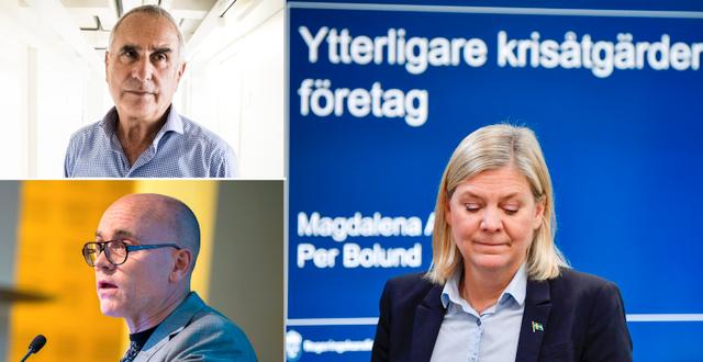 Flam, Hassler och Magdalena Andersson. TT