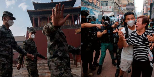 Folkets befrielsearmé vid ingången till Förbjudna staden i Peking/oroligheter på gatorna i Hongkong. TT
