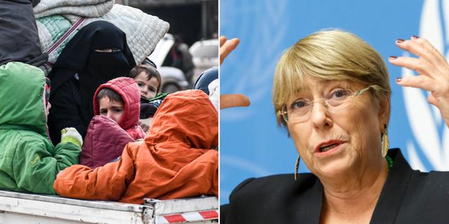 Syriska flyktingar/Michelle Bachelet. TT