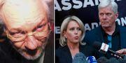 Julian Assange/hans advokat Jennifer Robinson och Wikileaks talesperson Kristinn Hrafnsson. TT