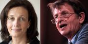 Maria Stockhaus, riksdagsledamot för Moderaterna bar en tröja med nidmotiv av Palme. Henrik Montgomery/TT och Rolf Hamilton.