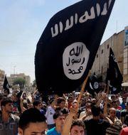 Arkivbild. IS-flagga i Mosul.  STR / TT / NTB Scanpix