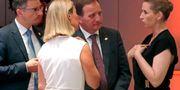 Stefan Löfven under mötet i Bryssel söndag kväll. Olivier Hoslet / TT NYHETSBYRÅN/ NTB Scanpix