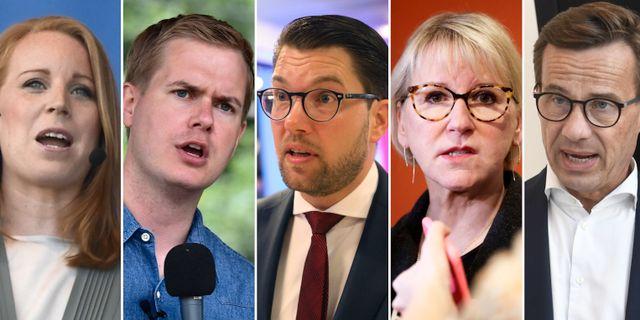 Annie Lööf (C), Gustav Fridolin (MP), Jimmie Åkesson (SD) och Margot Wallström (S), Ulf Kristersson (M).  TT