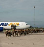 De amerikanska soldaterna landade på Skavsta flygplats. Victor Persson/Försvarsmakten