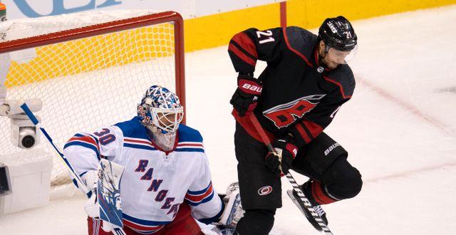 Bild från matchen mellan Rangers och Hurricanes. Frank Gunn / TT NYHETSBYRÅN