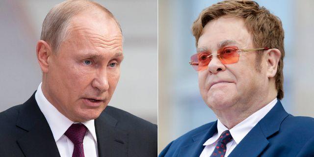 Ryssland Vladimir Putin och musikern Elton John.  TT NYHETSBYRÅN