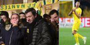 Sörjande fans och Emiliano Sala.  Bildbyrån.