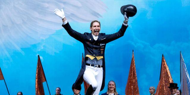 Patrik Kittel under prisutdelningen vid Stockholm Horse Show. Jessica Gow/TT / TT NYHETSBYRÅN
