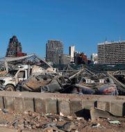 Förödelsen efter explosionen den 4 augusti. Bilal Hussein / TT NYHETSBYRÅN