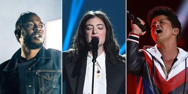 Kendrick Lamar, Lorde och Bruno Mars. TT