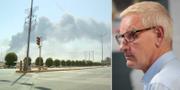 Bild från ena attackerade oljeanläggningen efter attacken/Carl Bildt.  TT