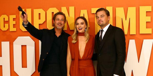 Brad Pitt, Margot Robbie och Leonardo DiCaprio.  Joel C Ryan / TT NYHETSBYRÅN/ NTB Scanpix