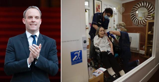 Dominic Raab och 102-åriga Joan Piotts när hon vaccinerades i London i veckan. TT