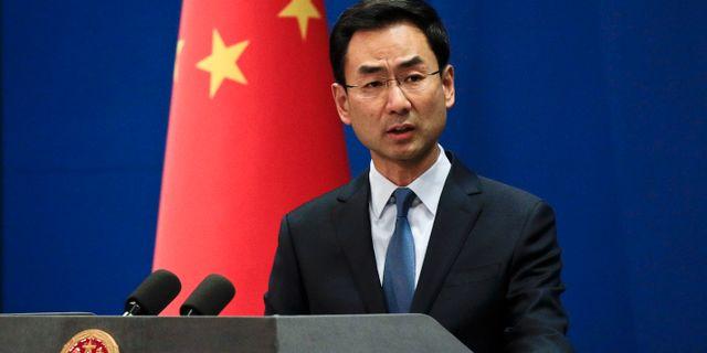 Geng Shuang, talesperson för det kinesiska utrikesdepartementet. Andy Wong / TT NYHETSBYRÅN/ NTB Scanpix