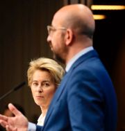 Donald Trump, Ursula von der Leyen och Charles Michel. TT