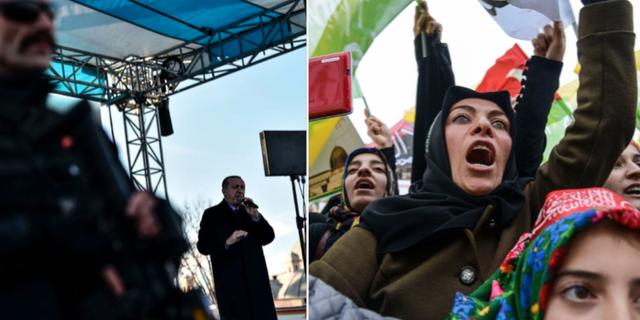 Erdogan talar till partimedlemmar i Karaman/pro-palestinska protester mot Trumps beslut. TT