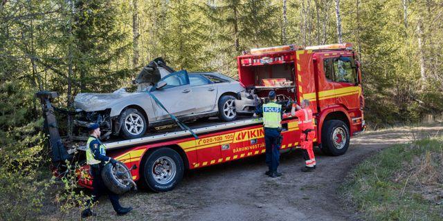 Olycksplatsen utanför Sundsvall. Mats Andersson / TT / TT NYHETSBYRÅN