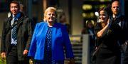 Norges statsminister Erna Solberg under gårdagen. NTB SCANPIX / TT NYHETSBYRÅN