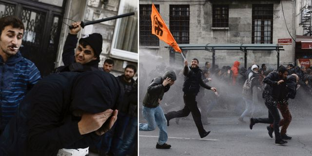 Polisen skot targas mot demonstranter