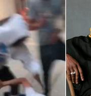 Bild på Asap Rocky i ljusgrå luvtröja under den misstänkta misshandeln/Arkivbild Asap Rocky. Bild från förundersökningsprotokollet/TT