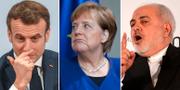Emmanuel Macron, Angela Merkel och Javad Zarif deltog alla på säkerhetskonferensen i München i helgen. CHRISTOF STACHE/ HANNIBAL HANSCHKE/ AFP/ Jens Meyer / TT NYHETSBYRÅN