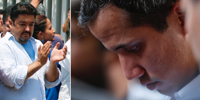 Roberto Marrero till vänster, under en demonstration tidigare i veckan/Juan Guaidó i samband med dagens tal. TT