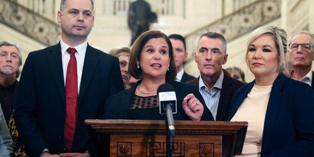 Sinn Féins ledare Mary Lou McDonald idag. Brian Lawless / TT NYHETSBYRÅN