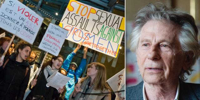 Feministiska aktivister demonstrerar mot regissörens nomineringar/Roman Polanski. TT