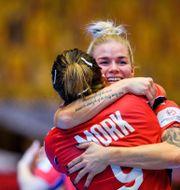 Norska spelarna firar segern.  PETTER ARVIDSON / BILDBYRÅN