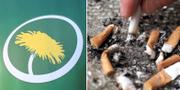 Miljöpartiets logotyp samt fimpning av cigarett. TT