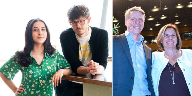 Grön Ungdoms språkrör Aida Badeli och David Ling/Per Bolund och Isabella Lövin. TT