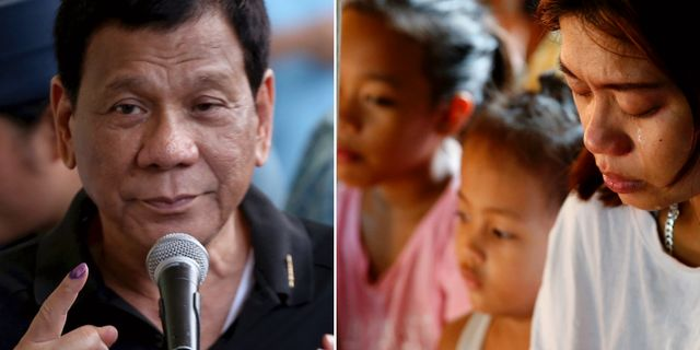 Rodrigo Duterte/modern till en flicka som dödats av misstag i knarkkriget.  TT.
