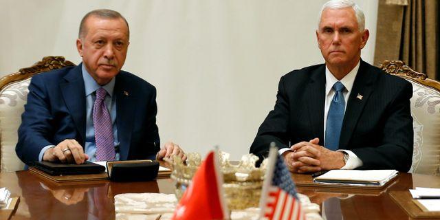 Erdogan och Pence idag. HUSEYIN ALDEMIR / TT NYHETSBYRÅN