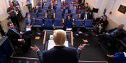 Donald Trump under nattens presskonferens. KEVIN LAMARQUE / TT NYHETSBYRÅN