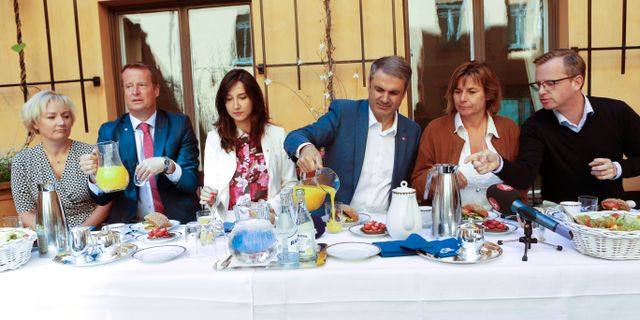 Helene Hellmark Knutson (S),  Anders Ygeman (S), Aida Hadzialic (S), Ibrahim Baylan (S), Isabella Lövin (MP) och Mikael Damberg (S) tar en sommarfika 2016. Christine Olsson/TT / TT NYHETSBYRÅN
