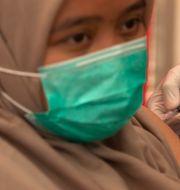 Sjukvårdsanställd i Indonesien får vaccinet under onsdagen.  Firdia Lisnawati / TT NYHETSBYRÅN