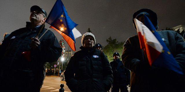 Demonstranter med EU-flaggor utanför parlamentet. Czarek Sokolowski / TT NYHETSBYRÅN
