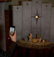 """Banksys verk """"Scar of Betlehem"""" Majdi Mohammed / TT NYHETSBYRÅN"""