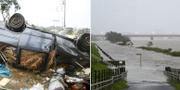 Tyfonen har fört med sig kraftiga vindar och översvämningar. TT