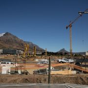 Construction work on the redevelopment of the River Club in Cape Town, South Africa, which Amazon plans to make its regional base, Sept. 17. Samantha Reindersfor The Wall Street Journal