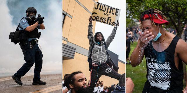 Polis och demonstranter i Minneapolis på tisdagen. TT