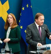 Arkivbild: Annie Lööf, partiledare för Centerpartiet, och statsminister Stefan Löfven (S) vid en pressträff i Rosenbad Pontus Lundahl/TT / TT NYHETSBYRÅN