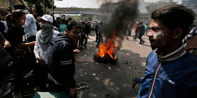 Protester i Jakarta, Indonesien  Dita Alangkara / TT NYHETSBYRÅN