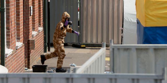 Utredningen av förgiftningen i Amesbury i Storbritannien. Matt Dunham / TT / NTB Scanpix