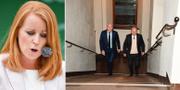 Annie Lööf och Eskil Erlandsson tillsammans med sin advokat under den pågående rättegången. TT