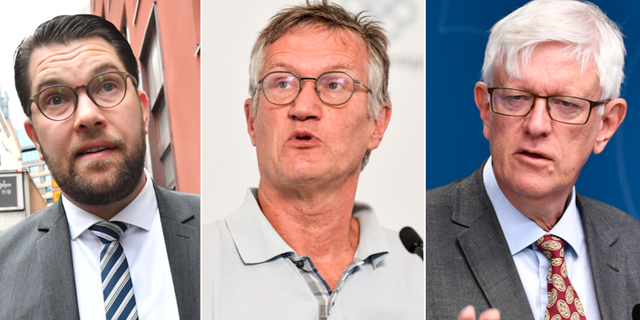 SD-ledaren Jimmie Åkesson, statsepidemiolog Anders Tegnell och Folkhälsomyndighetens generaldirektör Johan Carlson. TT