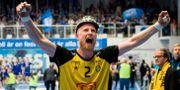 Sävehofs Joakim Larsson jublar. JÖRGEN JARNBERGER / BILDBYRÅN