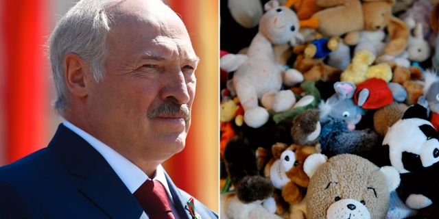 Vitrysslands president Alexander Lukashenko och nallar.  TT.
